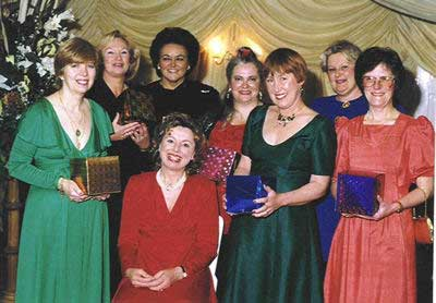 L-R: Suki Wright, Jenny Ranson, Val Woods, Me, Ginny Garner, Fruma Green, Liz Edgell with Cackles seated